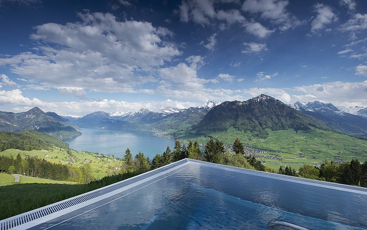 Infinity pool with Alps views