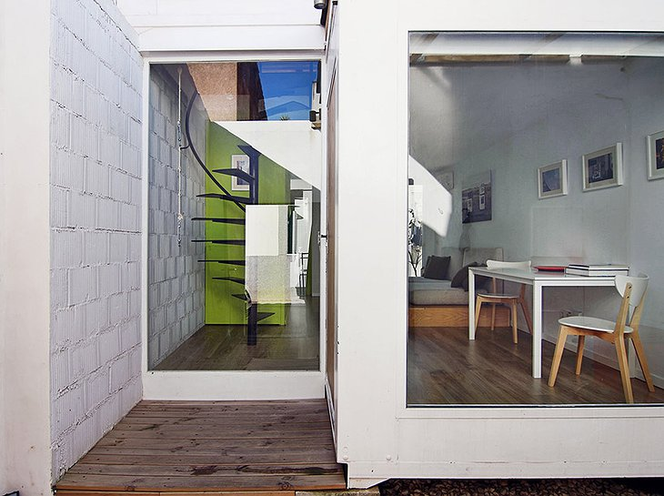 Container Home living room from the outside