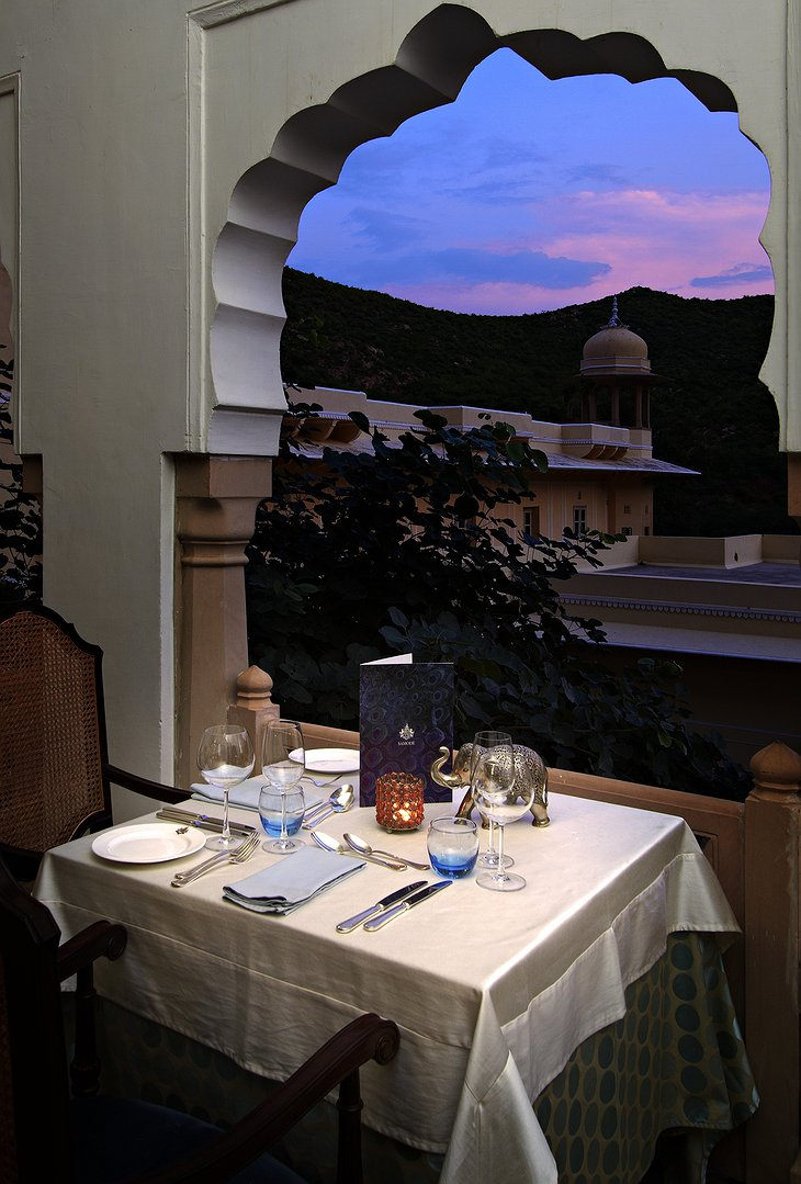 Samode Palace romantic dining in the evening