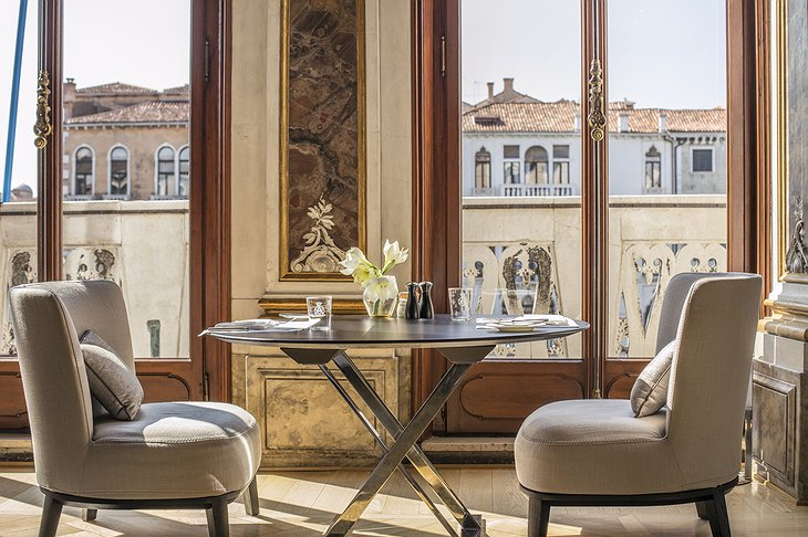 Aman Venice Grand Canal Hotel dining table