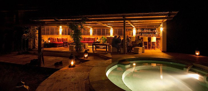 Plunge pool and bar at the night