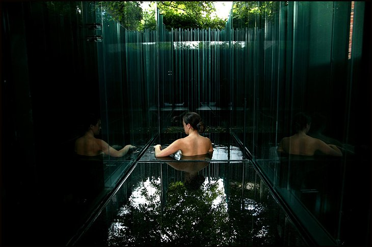 Les Cols Pavellons Onsen Bath with Glass Walls