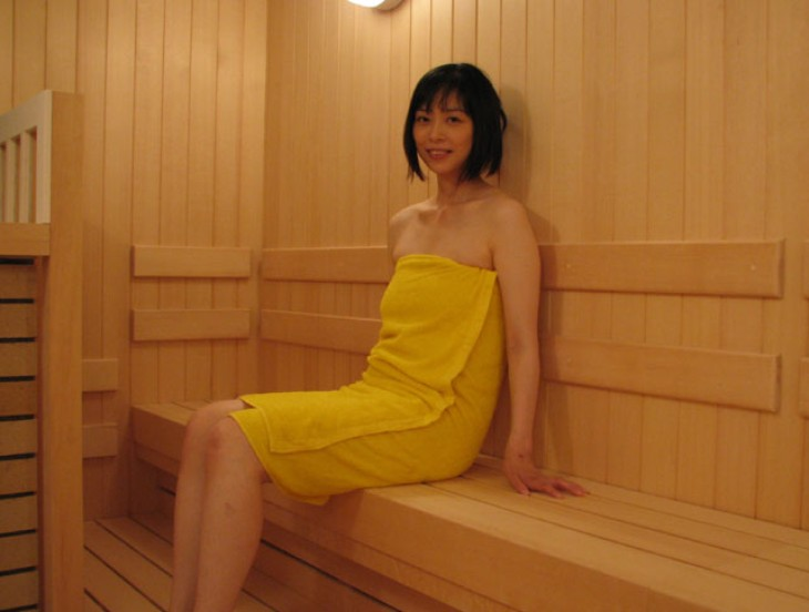 In the sauna with a Japanese girl