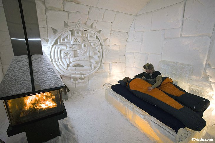 Fireplace and people sleeping in the ice room