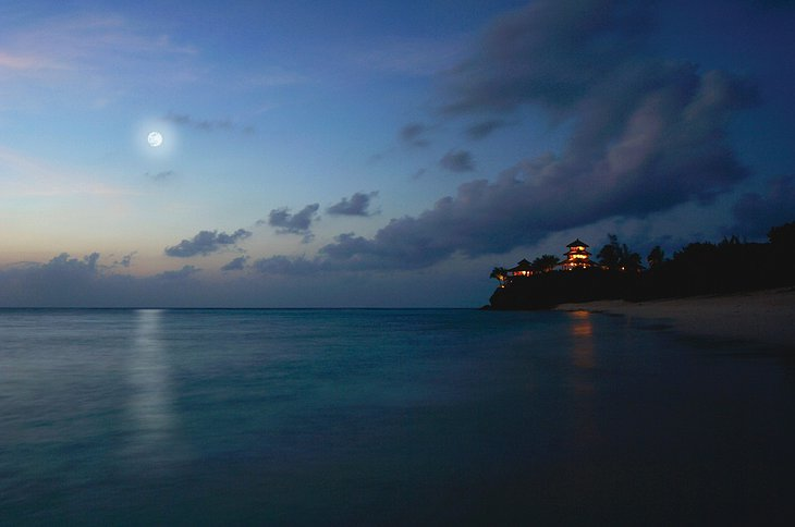 Necker Island in the dark