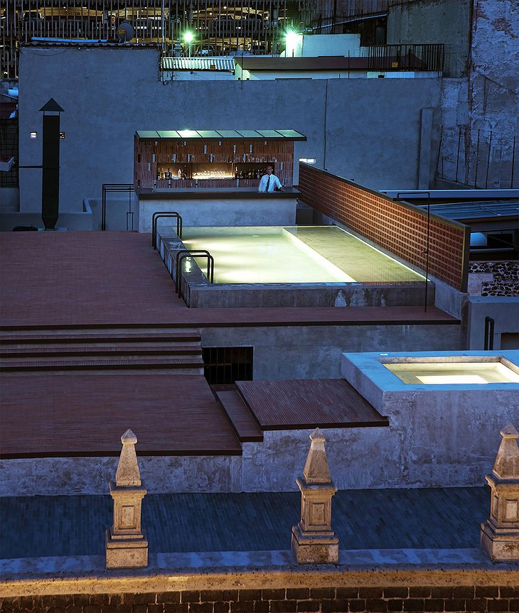 Rooftop terrace at night