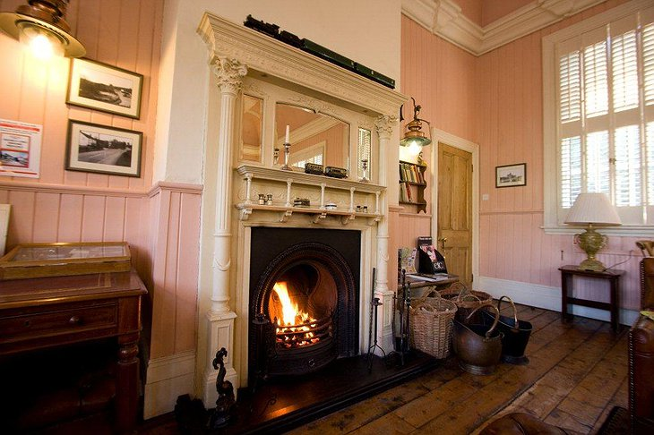 The Old Railway Station lounge fireplace
