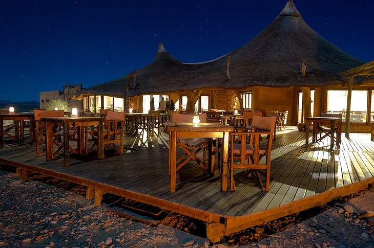 Kulala Desert Lodge terrace in the evening