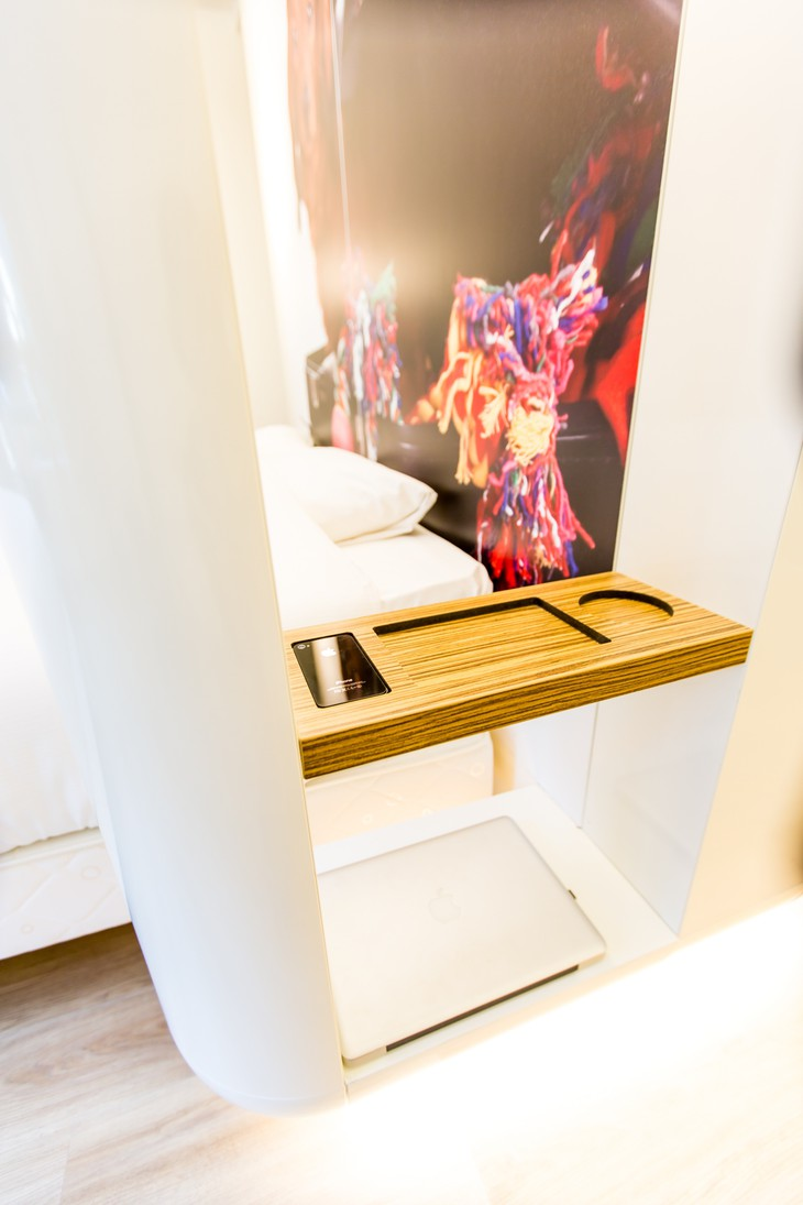 Qbic Hotel WTC Amsterdam room design elements with phone holder