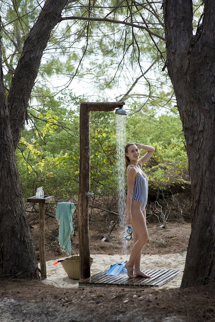 andBeyond Mnemba Island outdoor shower