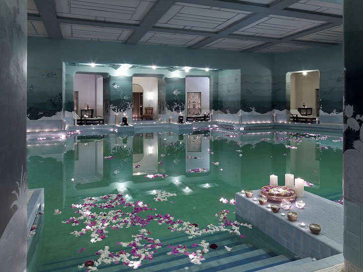 Umaid Bhawan Palace inside swimming pool with flowers floating