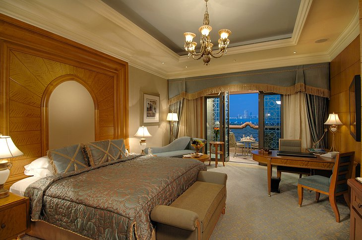 Emirates Palace luxury room with terrace and view on Abu Dhabi