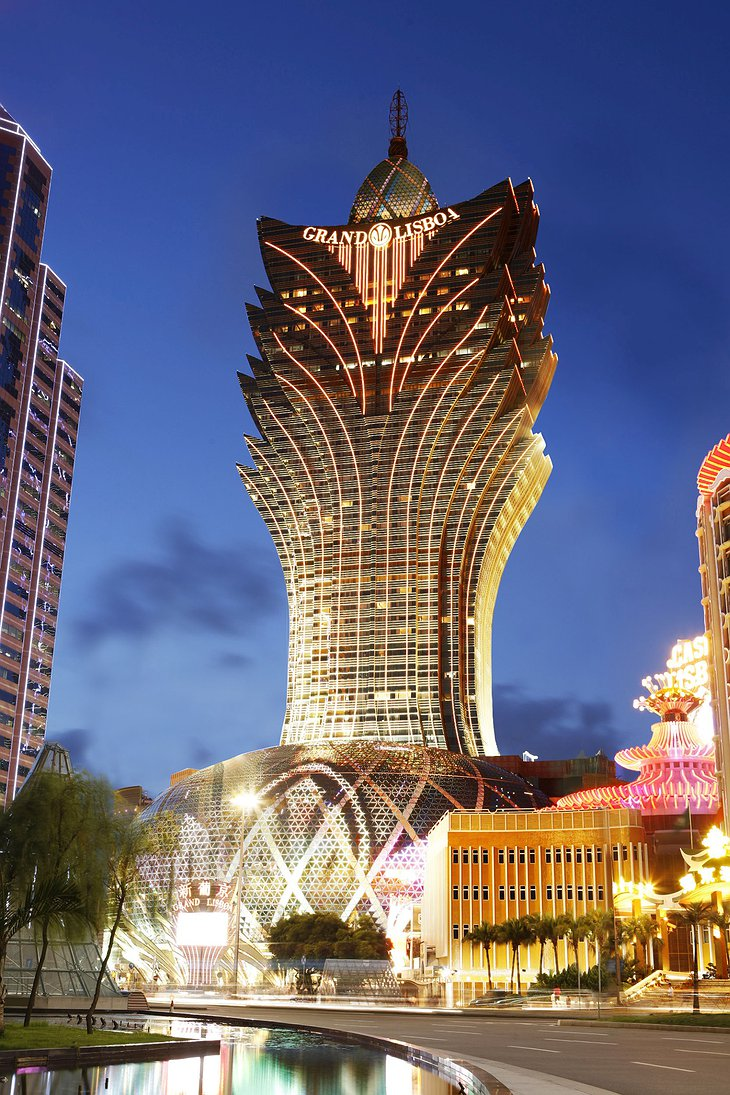 Grand Lisboa Macau hotel and casino building lit up at night