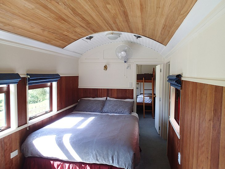 The Waitomo Express train motel room