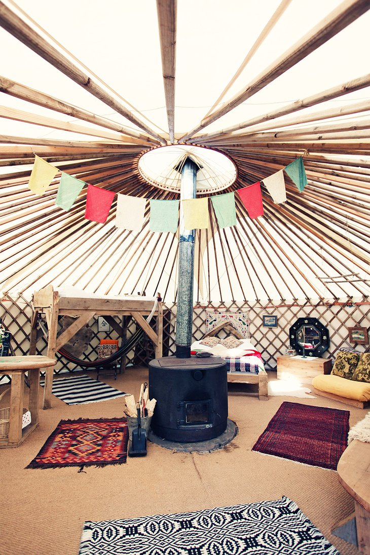 Black Mountains Yurt stove in the middle