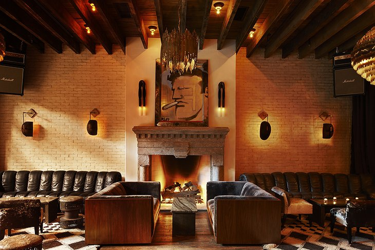 The Ludlow Hotel lobby with modern wall art
