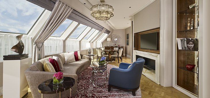 The Ritz-Carlton Hotel Budapest Chairman Suite living room on the top floor