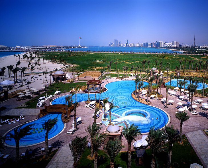 Emirates Palace outside swimming pools