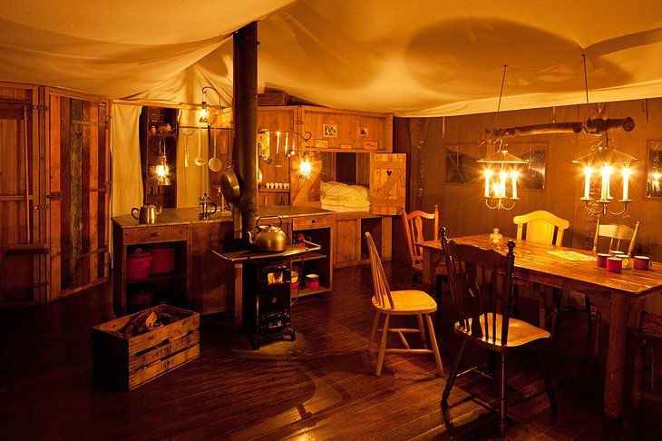 Manor Farm Alton tent interior in the evening