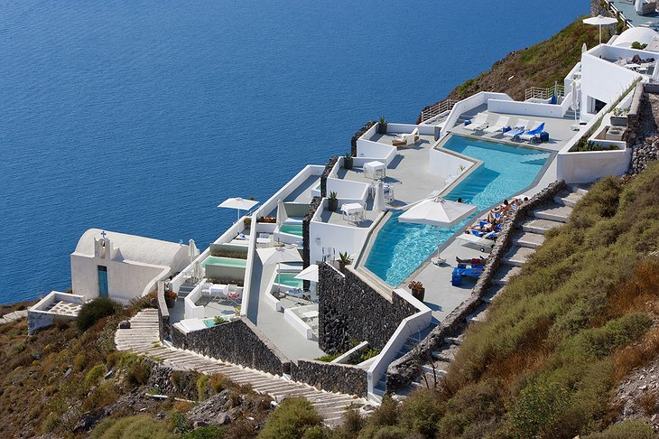 Grace Santorini hotel complex from above
