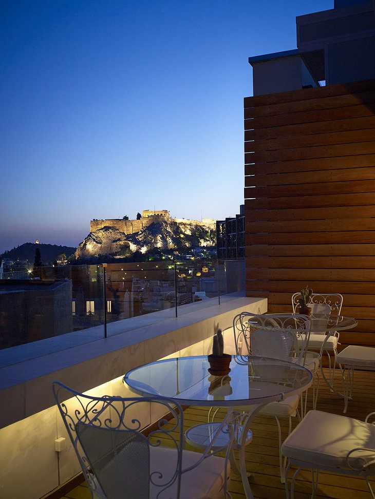 NEW Hotel Athens rooftop drink with Acropolis view at night