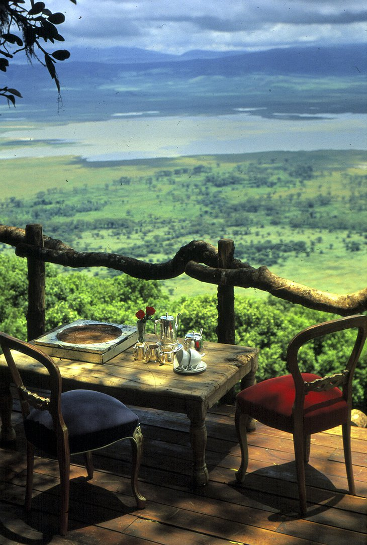 Ngorongoro Crater Lodge terrace