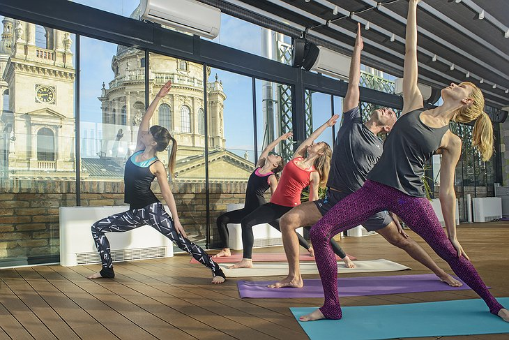 Aria Hotel Budapest Yoga Class with Basilica in the Background