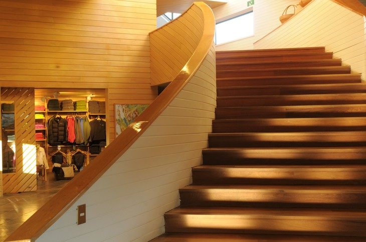 Wooden stairs in Explora Patagonia Hotel