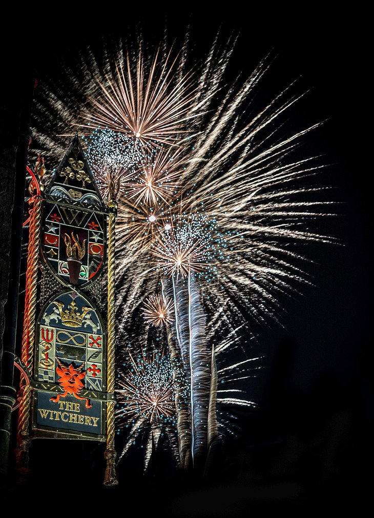 The Witchery by the Castle Sign and Fireworks