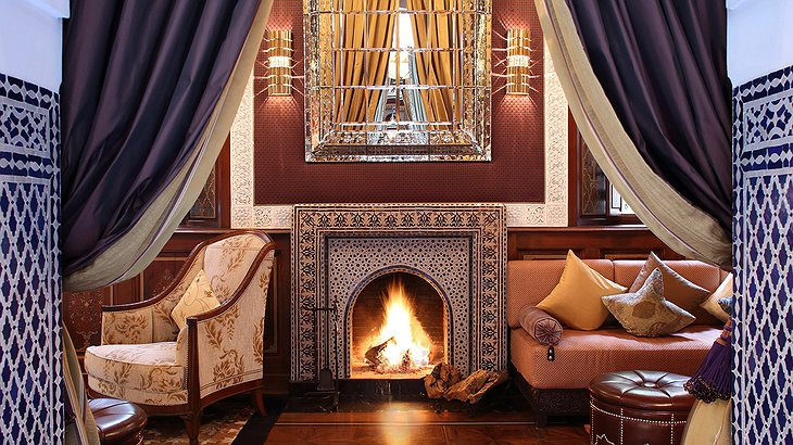 2 bed riad fireplace at the Royal Mansour Marrakech