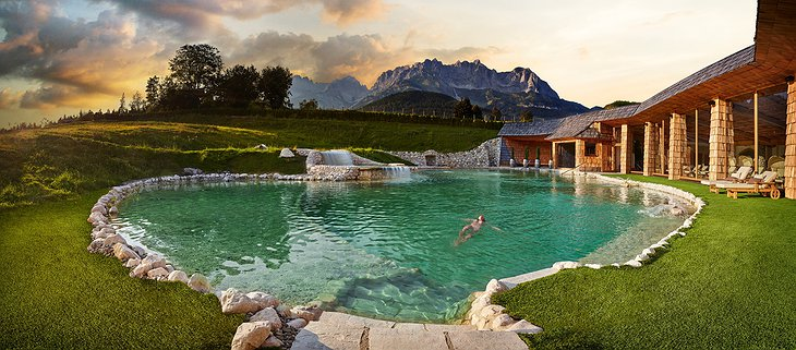 Green Spa Resort Stanglwirt Outdoor Pool with Alpine View