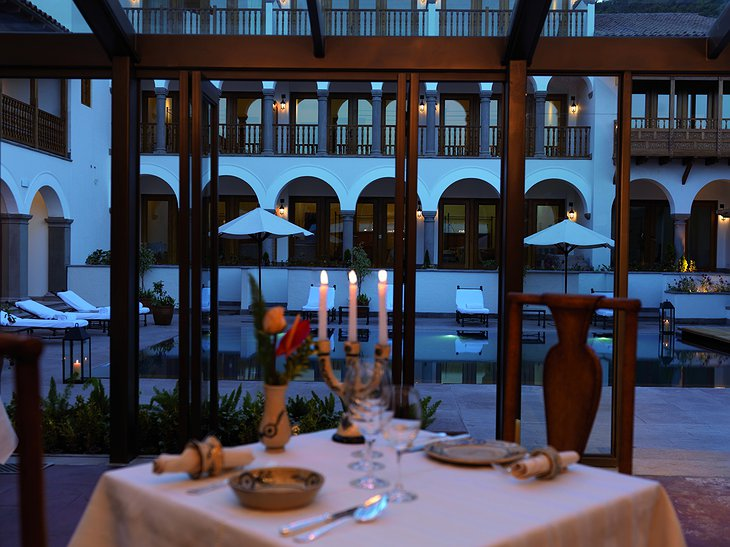 Belmond Palacio Nazarenas dining at the pool