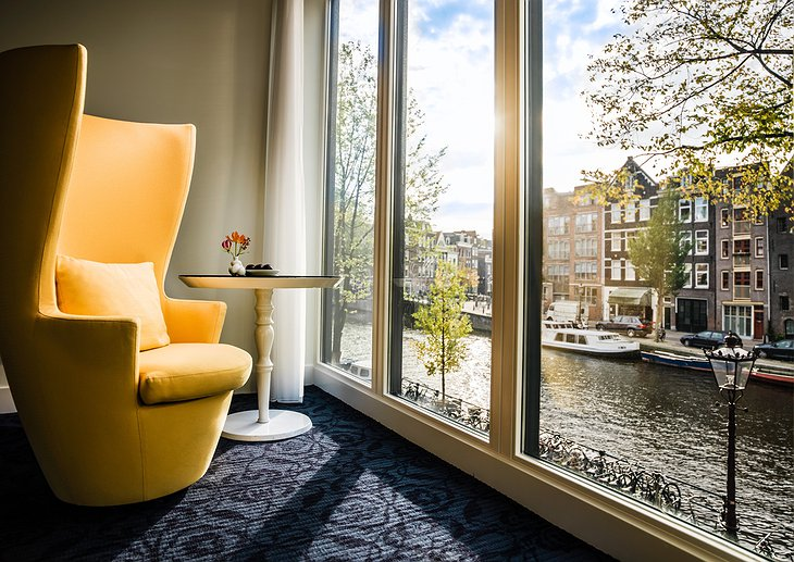 Amsterdam canal view from a design chair