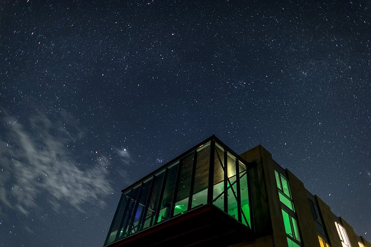 ION Adventure Hotel at night with stars above