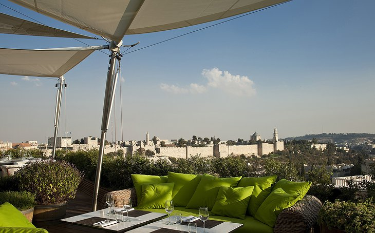 Mamilla Hotel rooftop view on Jerusalem