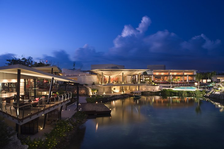 Rosewood Mayakoba resort at night