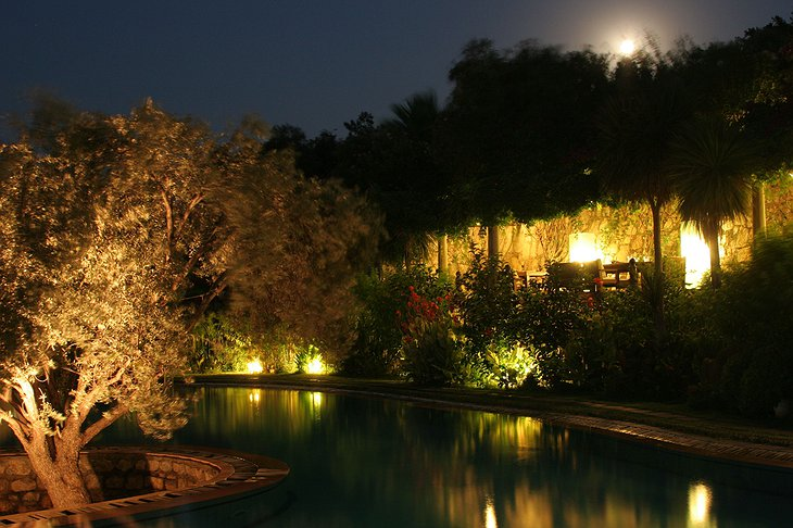 Antik Zeytin Hotel pool at night