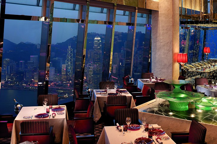 Tosca Restaurant at night with Hong Kong views