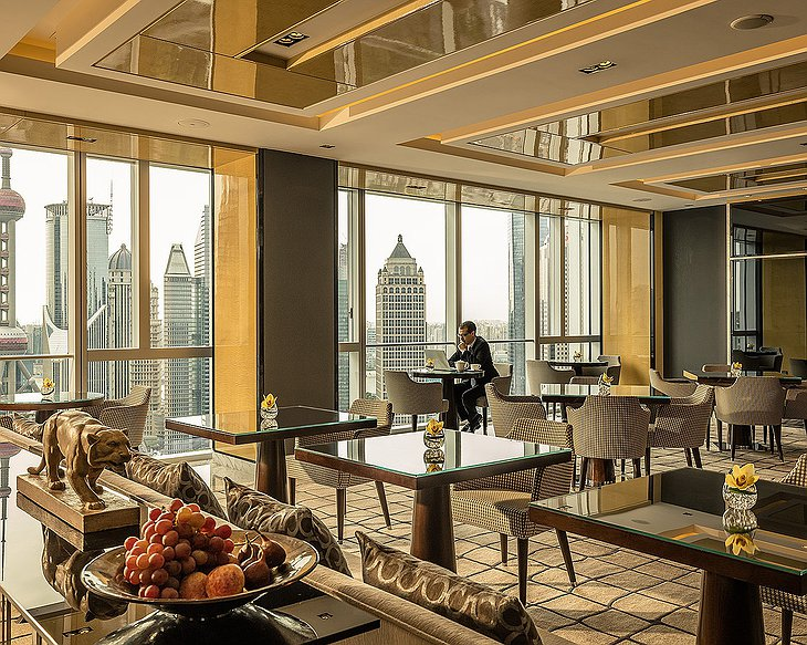 Four Seasons Hotel Pudong restaurant with city views