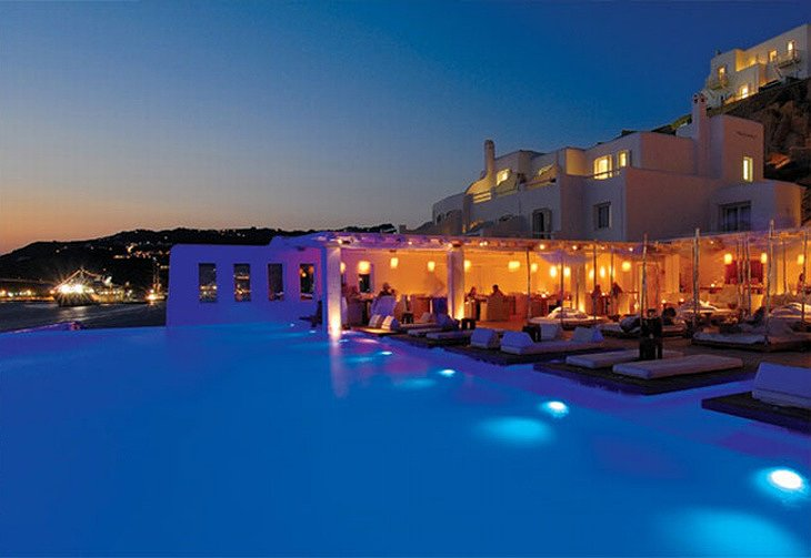 Cavo Tagoo swimming pool at night