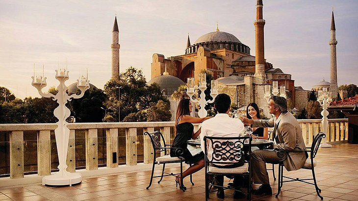 Four Seasons Sultanahmet terrace with Hagia Sophia in the background