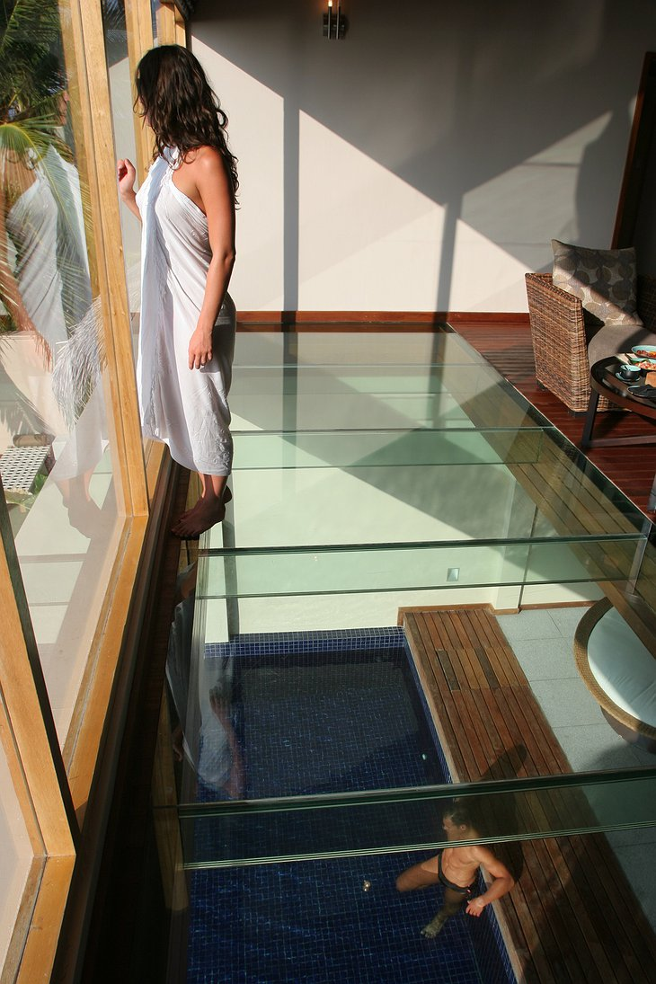See-through glass floor in the beach pavilion building
